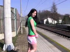 sexy teen solo girl masturbating at the train station Striptease