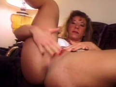 Horny Brunette Amateur Milf Solo Pussy Toying Show On Couch