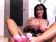 Footjob with german big tits tattoo amateur femdom Milf