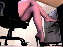 ignored-by-her-sheer-black-pantyhose-feet-and-high-heels