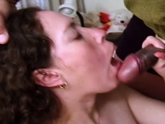Short Skirted Pregnant Chick Get Tits Coated In Cum