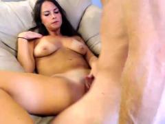Brunette Wife Webcam Blowjob Handjob Cumshot