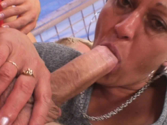 Old mature neighbor rides his horny big cock