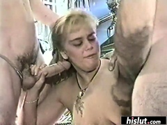 Cock hungry girls blowing massive dongs