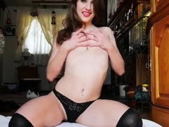 Solo brunette masturbation and striptease