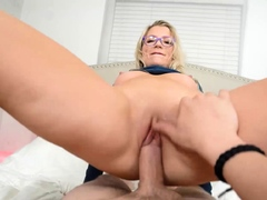 milf stepmom riding on son during fingering her ass
