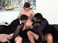 two-dudes-share-shaved-pussy-office-old-lady