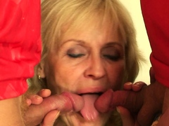 very-old-blonde-grandmother-swallows-two-cocks