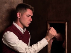 Missionary boy sucks old priests cock through the hole
