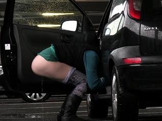 Desperate Girl Pisses In Car Park