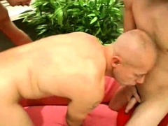 Old gay with two young cocks
