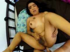 Latina TS Shemale Hooker Cum While Fuck by German Client