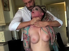 Inked submissive spanked