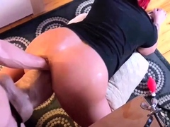 Double Fist and Gigantic Dildo Fucked Pussy