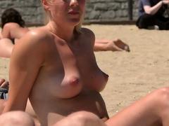 Amazing blonde girl Topless Beach Voyeur
