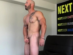Ripped straight wolf masturbates at casting