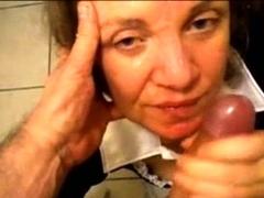 Granny On Her Knees Handjob And Facial