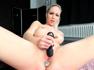 Naughty german blonde masturbating with all her toys