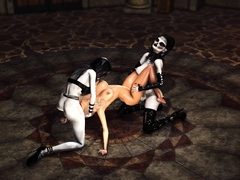 Two shemale witches play with a hot blonde in the castle
