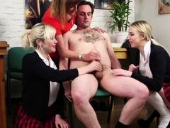 CFNM mature femdom and schoolgirls jerkoff sub