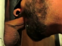 Hot sucking action at the glory hole