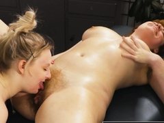 Hairy lesbian pussy and ass licked by busty blonde masseuse