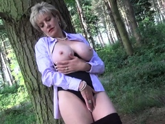 Lady Sonia flashing then masturbates in the forest