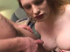 Bareback cock fucks shemale slut from behind