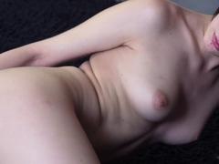 Delectable brunette first timer in bra is masturbating